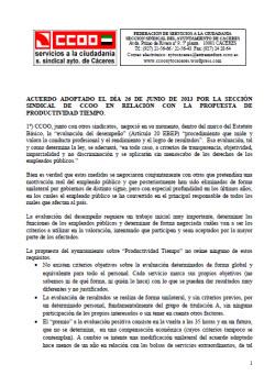 Acuerdo de 26.06.2013 , S.S. CCOO Ayto. Cáceres, sobre propuesta Productividad Tiempo