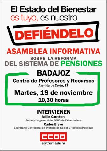 Asamblea Sistema Pensiones. Badajoz. 19 noviembre