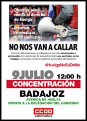 2. 9 DE JULIO. CONCENTRACIÓN EN BADAJOZ CONTRA LA CRIMINALIZACIÓN DE LOS SINDICATOS.