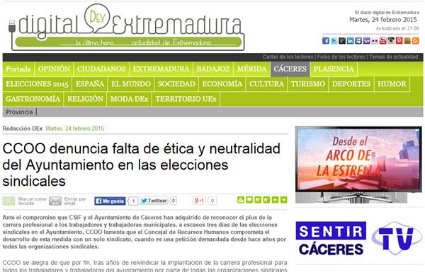 CCOO denuncia falta de ética y neutralidad del Ayuntamiento de Cáceres