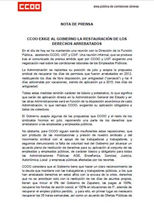 CCOO exige al gobierno la restauración de los derechos arrebatados